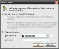 Datei unter Windows Ausführen als mit anderen Benutzerrechten