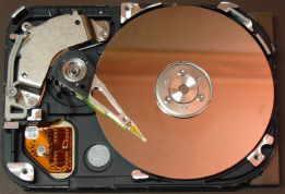 Eine Festplatte oder auch Festplattenlaufwerk von Innen - Innenansicht