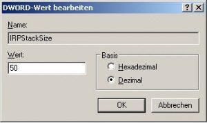 DWORD-Wert IRPStackSize in der Registry von Windows XP ändern