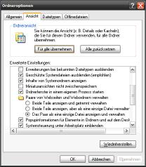 Ordneroptionen von Windows XP