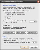 Dateicache der Temporären Internetdateien beim Internet Explorer 7 einstellen